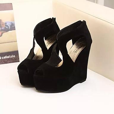 Feminino Sapatos Couro Ecológico Verão Sandálias Anabela Para Casual Preto