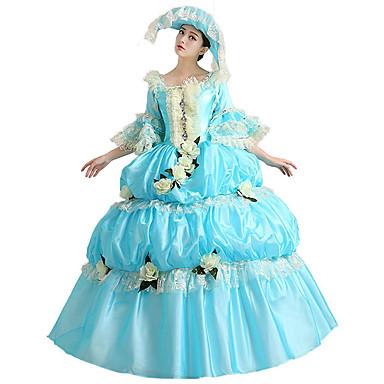 Vitoriano Rococó Ocasiões Especiais Mulheres Vestidos Baile de Máscara Festa a Fantasia Azul Vintage Cosplay Renda Algodão Comprimento