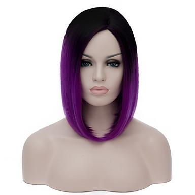 人工毛ウィッグ スタイル キャップレス かつら パープル パープル 合成 女性用 パープル かつら ショート キャップレスウィッグ
