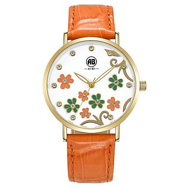 Dame Kjoleur Modeur Armbåndsur Quartz Vandafvisende Ægte læder Bånd Vintage Sej Afslappet Orange Brand AIBI