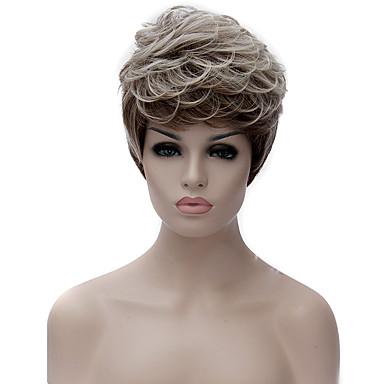 Syntetiske parykker Dame Krøllet Brun Asymmetrisk frisyre Syntetisk hår Naturlig hårlinje Brun Parykk Kort Lokkløs Sort / Grå