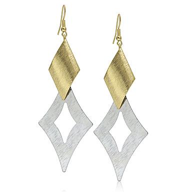 Mulheres Brincos Compridos Vintage Fashion Europeu Prata Chapeada Chapeado Dourado Liga Formato de Folha Forma Geométrica Jóias Casamento