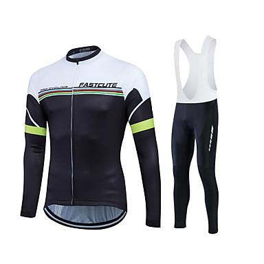 Fastcute Homens Mulheres Manga Longa Camisa com Calça Bretelle - Preto Moto Tights Bib Meia-calça Camisa / Roupas Para Esporte Conjuntos