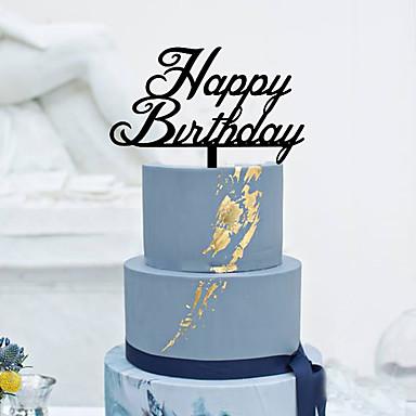 Taarttoppers Klassiek Thema Monogram Acryl Verjaardag met Bloemen 1 Cadeauverpakking
