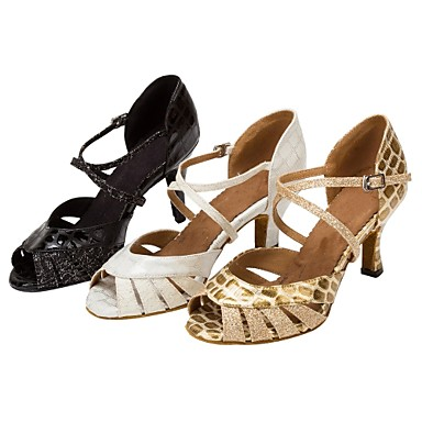 Damen Schuhe für den lateinamerikanischen Tanz / Salsa Tanzschuhe Glitzer / Kunstleder Sandalen / Absätze Glitter / Schnalle Maßgefertigter Absatz Maßfertigung Tanzschuhe Weiß / Golden / Innen