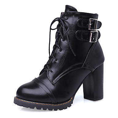 Damen Schuhe Kunstleder Herbst / Winter Modische Stiefel / Stiefeletten Stiefel Blockabsatz / Plattform / Block Ferse Schnürsenkel Schwarz / Gelb / Rot