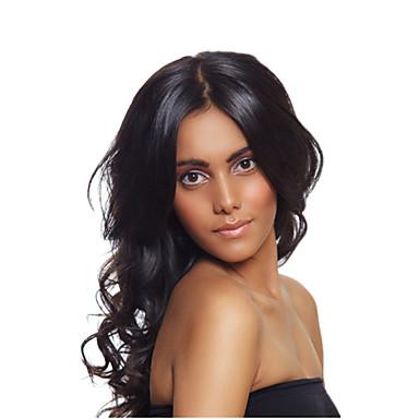 Echthaar Spitzenfront Perücke Wellen 120% / 130% Dichte Natürlicher Haaransatz / Afro-amerikanische Perücke / 100 % von Hand geknüpft Damen Kurz / Medium / Lang Echthaar Perücken mit Spitze