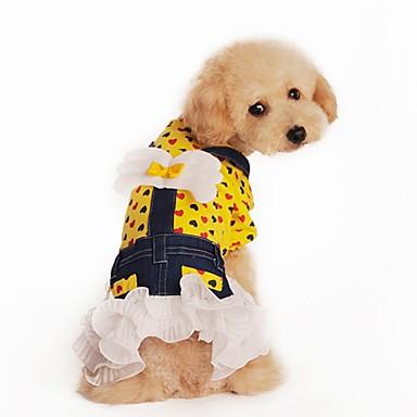Kat Hond Jurken Hondenkleding Schattig Modieus Harten Geel Roos Kostuum Voor huisdieren