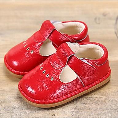 Para Meninas-Rasos-Conforto-Rasteiro-Amarelo Vermelho Azul Rosa claro Dourado-Pele-Casual