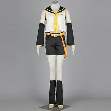 Inspirado por Vocaloid Kagamine Rin Animé Disfraces de cosplay Trajes Cosplay Retazos Camisas / Falda / Tocados Para Mujer