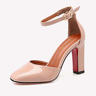 Damer Hæle Komfort laklæder Efterår Afslappet Komfort Spænde Tyk hæl Blokhæl Sort Grå Lys pink 7,5-9,5 cm
