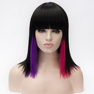 Syntetiske parykker / Kostymeparykker Rett / Yaki Bobfrisyre / Med lugg Syntetisk hår Naturlig hårlinje Svart Parykk Dame Mellemlængde Lokkløs