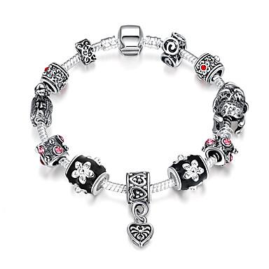 Damen Strang-Armbänder Volkston Modisch Europäisch Perlenbesetzt Synthetische Edelsteine Sterling Silber versilbert Aleación Geometrische