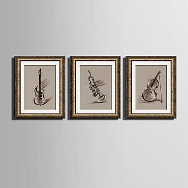 Innrammet Lerret Innrammet Sett Musikk Veggkunst, PVC Materiale med ramme Hjem Dekor Rammekunst Stue Soverom Spisestue Barnerom Kontor