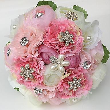 ウェディングブーケ ブーケ 結婚式 パーティー/フォーマル ラインストーン サテン 9.84
