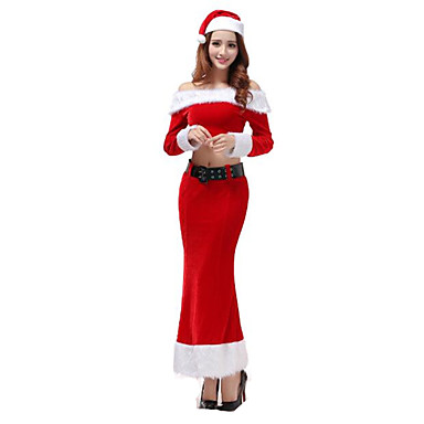 Ternos de Papai Noel Festa a Fantasia Mulheres Natal / Carnaval / Ano Novo Festival / Celebração Trajes da Noite das Bruxas Vermelho Sólido Uniformes Sensuais / Mais Uniformes