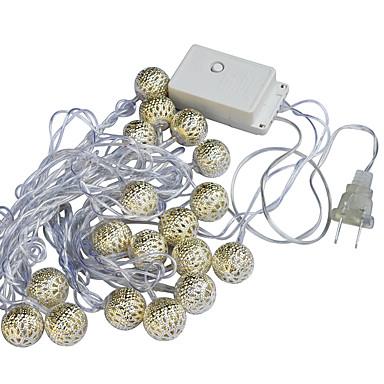 jiawen streng lys hoilday belysning ledet metall ball xmas utendørs innendørs dekorative fe lysene jul fe lampe 110 / 220v