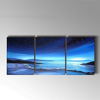 Pintura a Óleo Pintados à mão - Abstrato / Paisagem Modern / Estilo Europeu Tela de pintura / 3 Painéis
