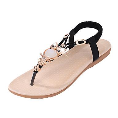 Kadın's Sandaletler Düz Taban Kristal / Gore PU Rahat Yaz Siyah / Bej / Mavi / EU41