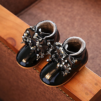 女の子 赤ちゃん ブーツ コンフォートシューズ エナメル カジュアル コンフォートシューズ ブラック グレー ピンク フラット