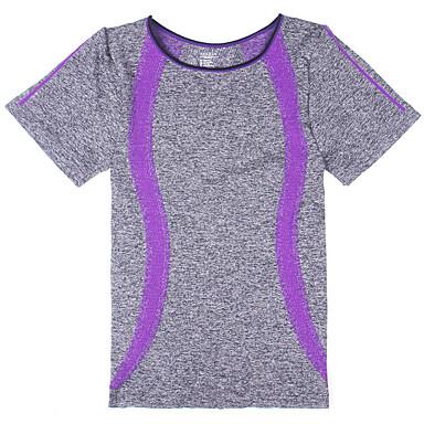 Mulheres Camiseta de Corrida Manga Curta Secagem Rápida Respirável Blusas para Ioga Exercício e Atividade Física Corrida Algodão Delgado
