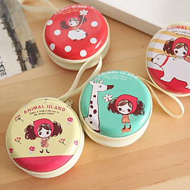 fone de ouvido / bolsa da moeda linda menina mini-caixa de ferro round (cores aleatórias)