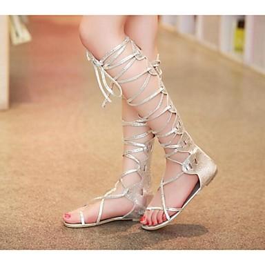 Mulheres Sapatos Couro Ecológico Verão Conforto Sandálias Sem Salto para Casual Prata Dourado