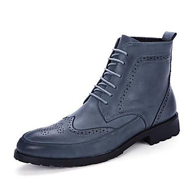 Hombre Fashion Boots Cuero Otoño / Invierno Confort Botas Antideslizante Negro / Marrón / Azul