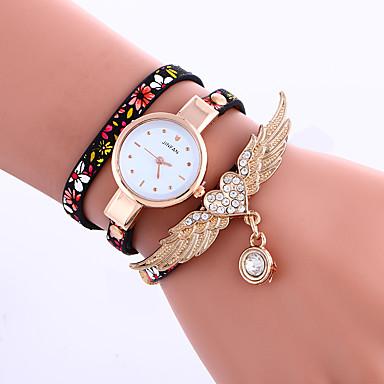 Mulheres Quartzo Bracele Relógio Couro Banda Flor Preta Azul Cinza