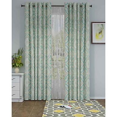 Un Panel Ventana Tratamiento De Diseño , Geométrico Sala de estar Poliéster Material cortinas cortinas Decoración hogareña For Ventana