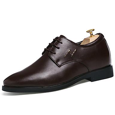 Miehet kengät Nahka Kevät Syksy Comfort Oxford-kengät Kävely Solmittavat Käyttötarkoitus Kausaliteetti Musta Ruskea