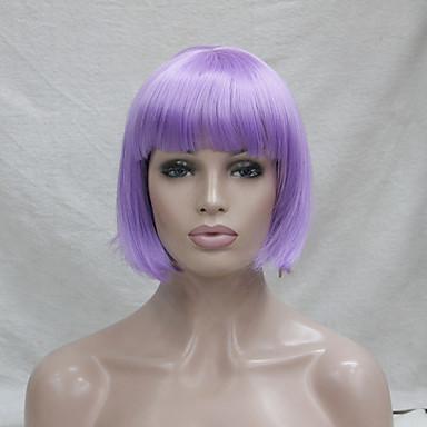 人工毛ウィッグ / コスチュームウィッグ ストレート ボブスタイル・ヘアカット 合成 パープル かつら 女性用 キャップレス