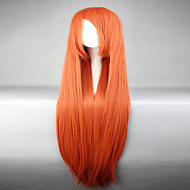 Perucas sintéticas / Perucas de Fantasia Liso Cabelo Sintético Vermelho Peruca Mulheres Sem Touca Laranja