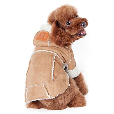 Hund Frakker Hettegensere Hundeklær Ensfarget kaffe Vin Mørkebrun Bomull Kostume For kjæledyr Herre Dame Hold Varm Mote