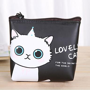 patrón de dibujos animados del gato de la PU bolso de cuero con el cambio