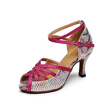 Mulheres Sapatos de Dança Latina Couro Sandália Estampa Animal Salto Robusto Personalizável Sapatos de Dança Fúcsia / Interior