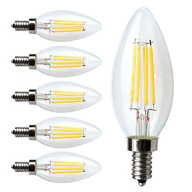 6pcs 380lm E12 Bombillas de Filamento LED C35 4 Cuentas LED COB Regulable Blanco Cálido 110-130V