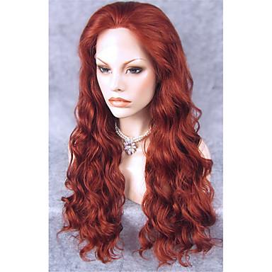 Peluca Lace Front Sintéticas Mujer Ondulado Rojo Pelo sintético Rojo Peluca Larga Encaje Frontal Castaño rojizo