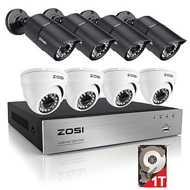 zosi®8ch HDMI 720p DVR embutido 8pcs HDD de 1TB 1.0MP kit sistema de câmera de segurança