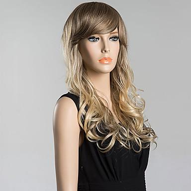 Menschliches Haar Capless Perücken Echthaar Wellen Mit Pony Seitenteil Dunkler Haaransatz Gefärbte Haarspitzen (Ombré Hair) Lang Perücke
