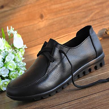 Feminino Sapatos Couro Primavera Verão Outono Conforto Oxfords Sem Salto Cadarço para Casual Preto Vermelho