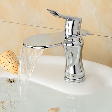 バスルームのシンクの蛇口 - プレリンス / 滝状吐水タイプ / 組み合わせ式 クロム センターセット シングルハンドル二つの穴