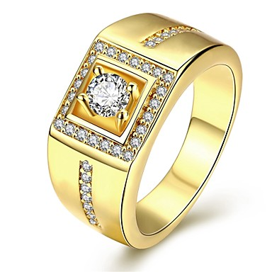cheap Men's Jewelry-Men's Ring Signet Ring Cubic Zirconia Silver Plated Gold Plated Love Personalized Luxury Ring Jewelry Silver / Rose / Golden For Christmas Gifts Wedding Party Daily Masquerade Engagement Party 8 / 9