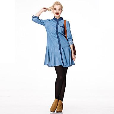 女性 ホリデー 春 / 秋 シャツ,ストリートファッション シャツカラー ソリッド ブルー コットン 長袖 薄手