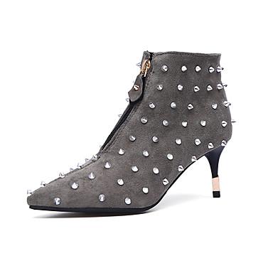 女性-ドレスシューズ カジュアル-PUレザー-スティレットヒール-コンフォートシューズ-ブーツ-ブラック グレイ