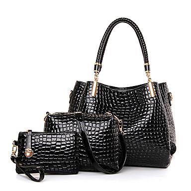 Mulheres Bolsas Couro Legítimo Conjuntos de saco 3 Pcs Purse Set para Casual Todas as Estações Preto Azul Escuro Vinho
