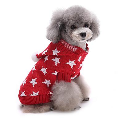 Kat Hund Gensere Jul Hundeklær Stjerner Rød Blå Bomull Kostume For kjæledyr Herre Dame Søtt Hold Varm