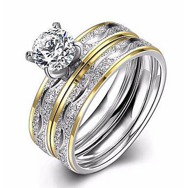 Pentru femei Verighete Inel de logodna Zirconiu Cubic Iubire Modă European Zirconiu Oțel titan Circle Shape Bijuterii Nuntă Petrecere