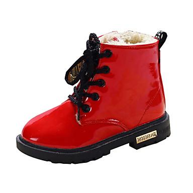 Tyttöjen Kengät PU Talvi Comfort Talvisaappaat Bootsit Kävely Tasapohja Pyöreä kärkinen Solmittavat Käyttötarkoitus Kausaliteetti Musta