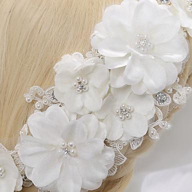 Crystal Imitation Pearl Lace Flowers Headpiece